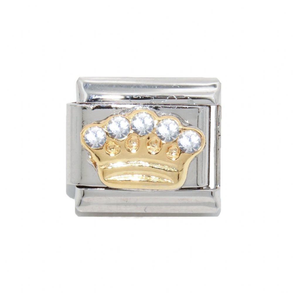 Crown With 5 Clear Stones Enamel